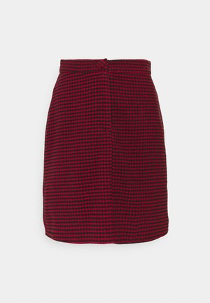 DOGTOOTH PRINT MINI SKIRT - Falda acampanada - red