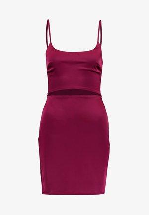 CUT OUT MINI DRESS - Jerseykjole - burgundy