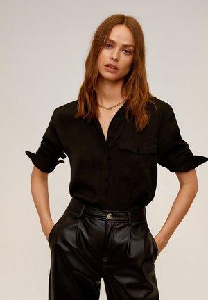 GRETA - Button-down blouse - schwarz