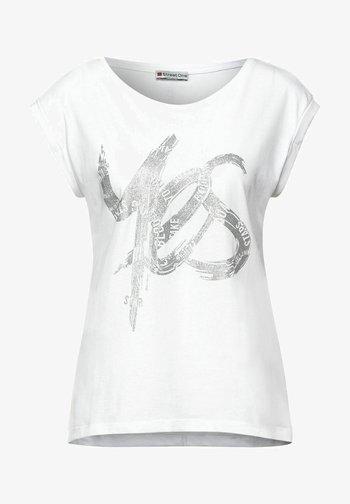 MIT SCHIMMER PRINT - Print T-shirt - weiß