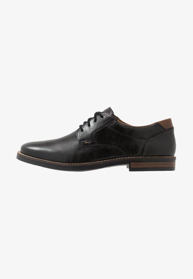 Šněrovací boty - schwarz/mogano