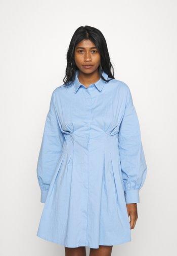 PLEATED WAIST SHIRT DRESS - Shirt dress - blue