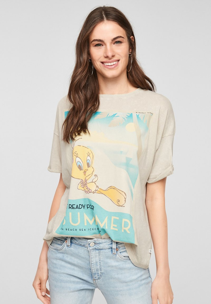 QS by s.Oliver - LOONEY TUNES - Print T-shirt - beige
