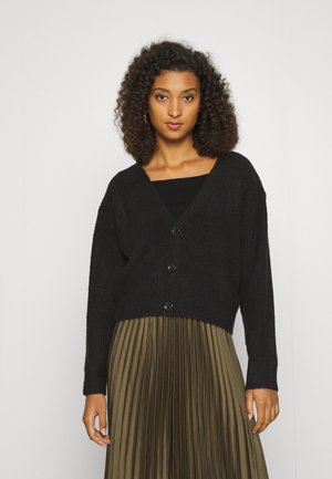 PLUNGE NECK CARDIGAN - Strickjacke - black