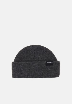 MINI ROLL BEANIE WITH TAB - Pipo - grey marl