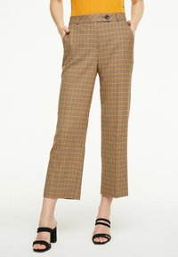 comma - MIT KAROMUSTER - Trousers - chocolate houndstooth - 0