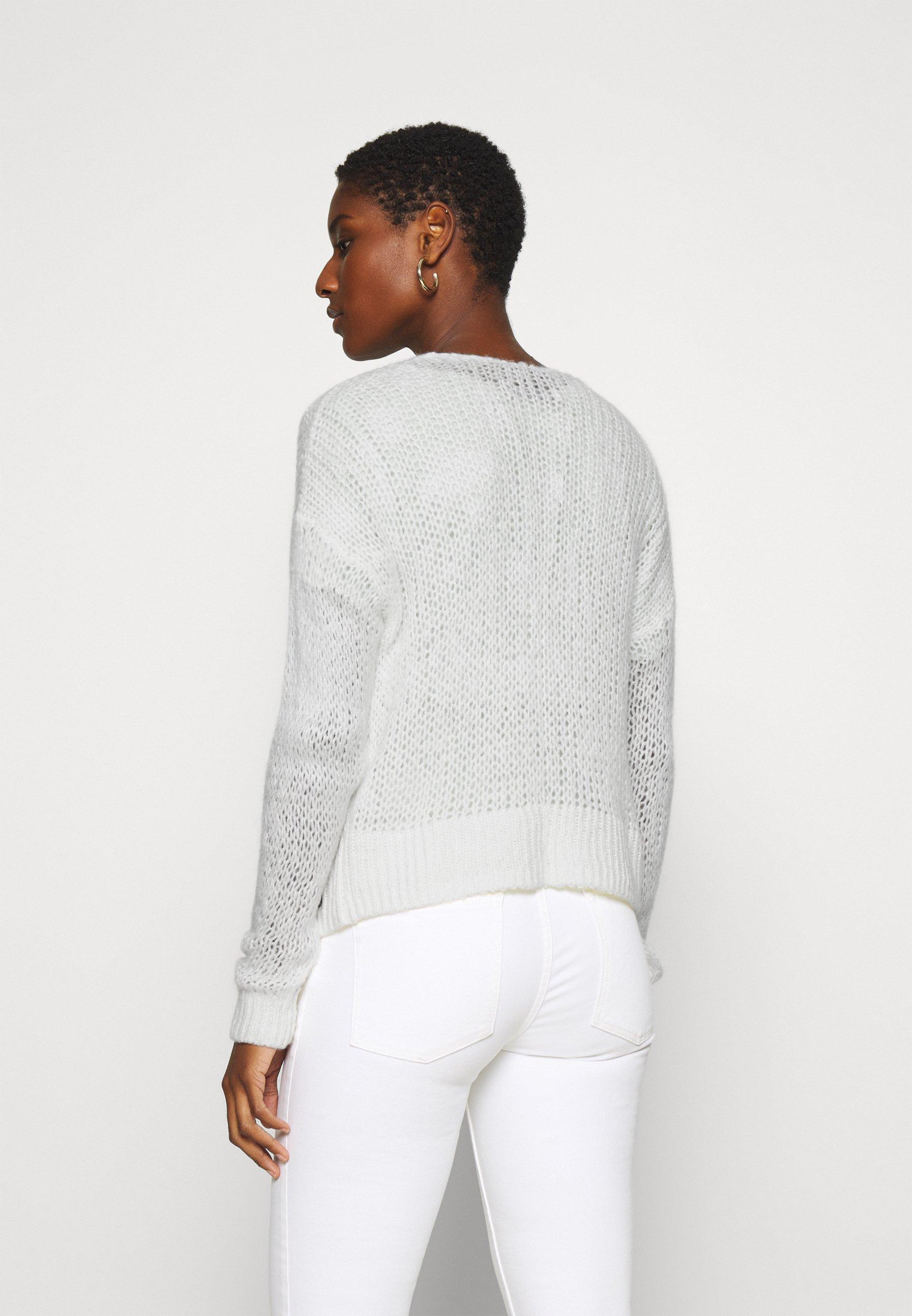 Abercrombie & Fitch LOUISE OPEN STITCH  - Vest - white - Dames jas Aanbod