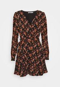 NA-KD - FRONT WRAP DRESS - Day dress - black - 0