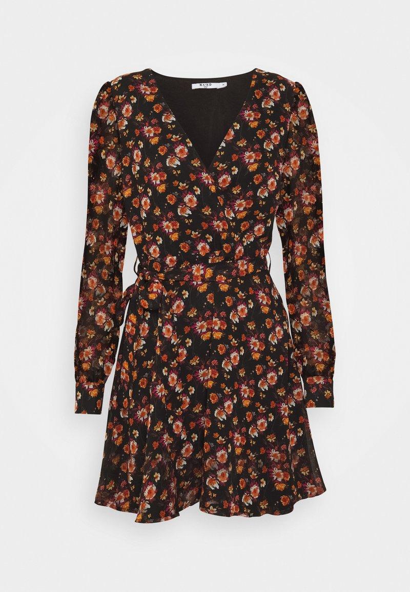 NA-KD - FRONT WRAP DRESS - Day dress - black