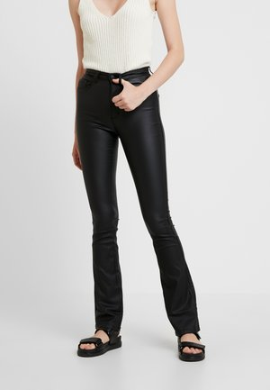 ONLROYAL SWEET FLARED COATED - Trousers - black