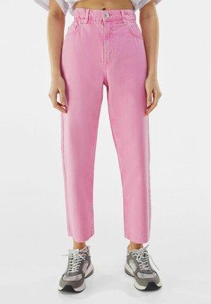 Straight leg jeans - neon pink