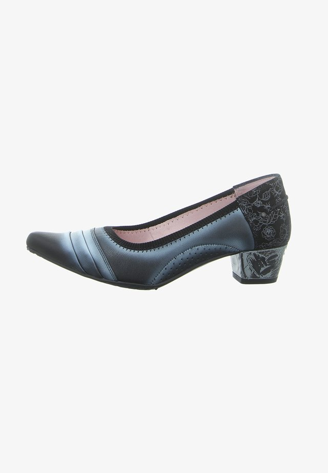 Classic heels - czarny+kwiaty