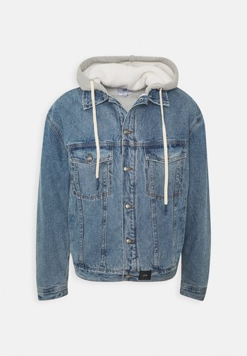 DENIM JACKET WITH SHERPA LINING AND HOOD