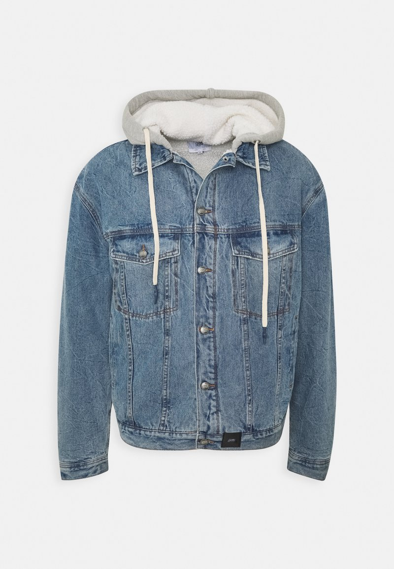 Sixth June - DENIM JACKET WITH SHERPA LINING AND HOOD - Spijkerjas - blue/grey