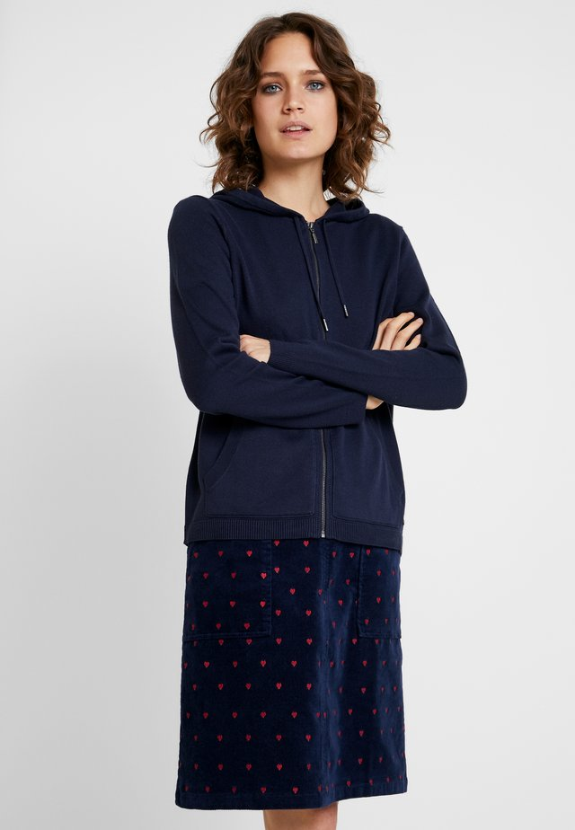 ZIP HOODED - Cardigan - navy