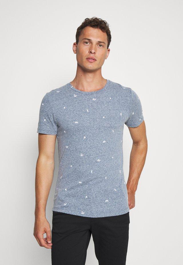 MÉLANGE - T-shirt imprimé - navy/white