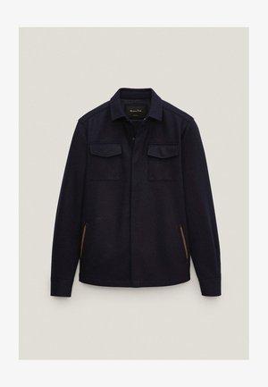MIT TASCHEN UND LEDERDETAILS - Summer jacket - blue-black denim