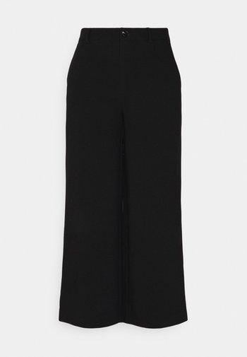 Wide cropped leg pants - Kalhoty - black