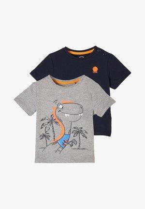 2 PACK - Print T-shirt - grey melange/navy placed print