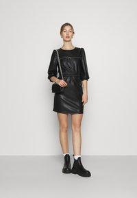Noisy May - NMHILL SLEEVE STUD DRESS - Sukienka letnia - black - 1