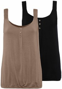LASCANA - 2 PACK - Top - taupe+schwarz - 0