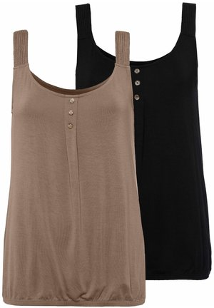 2 PACK - Top - taupe+schwarz