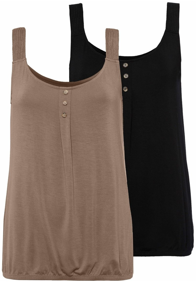 LASCANA - 2 PACK - Top - taupe+schwarz