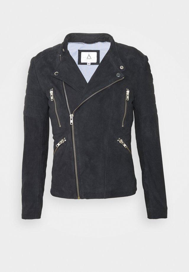 GLADATOR - Leather jacket - navy