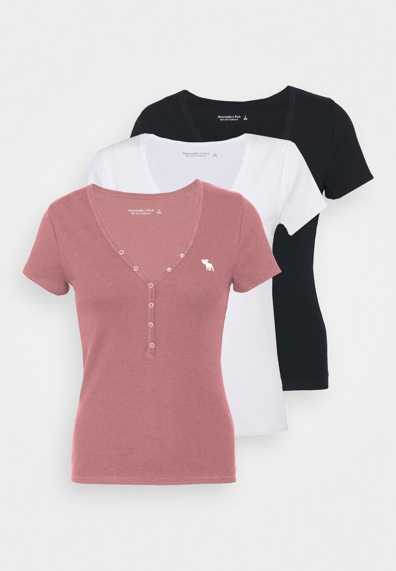 Abercrombie & Fitch - ICON HENLEY 3 PACK - T-shirt - bas - pink/white/navy
