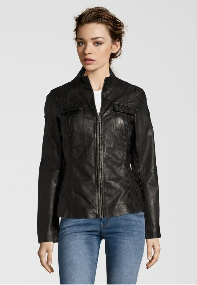 FLOWER - Leather jacket - black