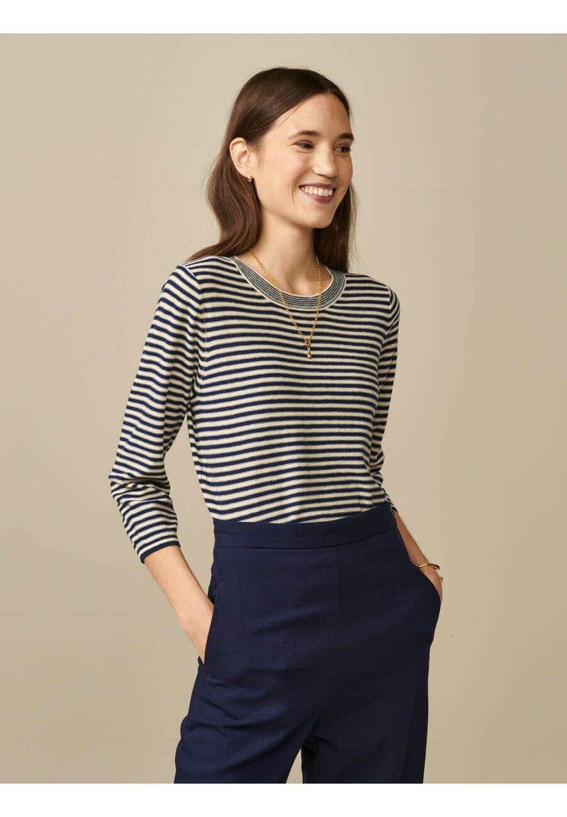 Bellerose - GOPS - Sweatshirt - ecru blau gestreift