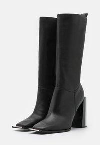 Topshop - TANGO LEG HARDWARE BOOT - Kozačky na vysokém podpatku - black - 2