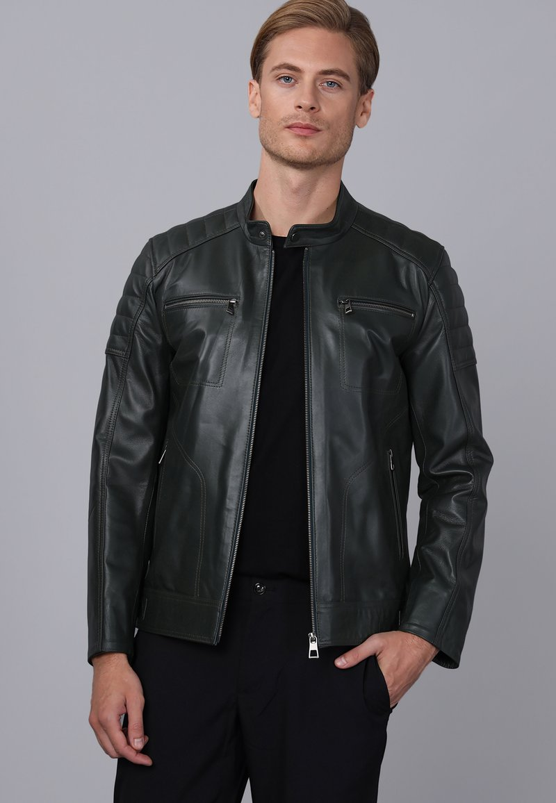Basics and More - Leather jacket - green
