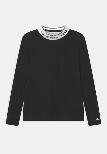 INTARSIA MOCK NECK - Bluzka z długim rękawem - black