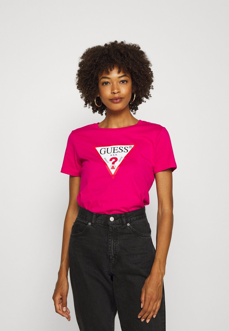 Guess - Print T-shirt - shocking pink