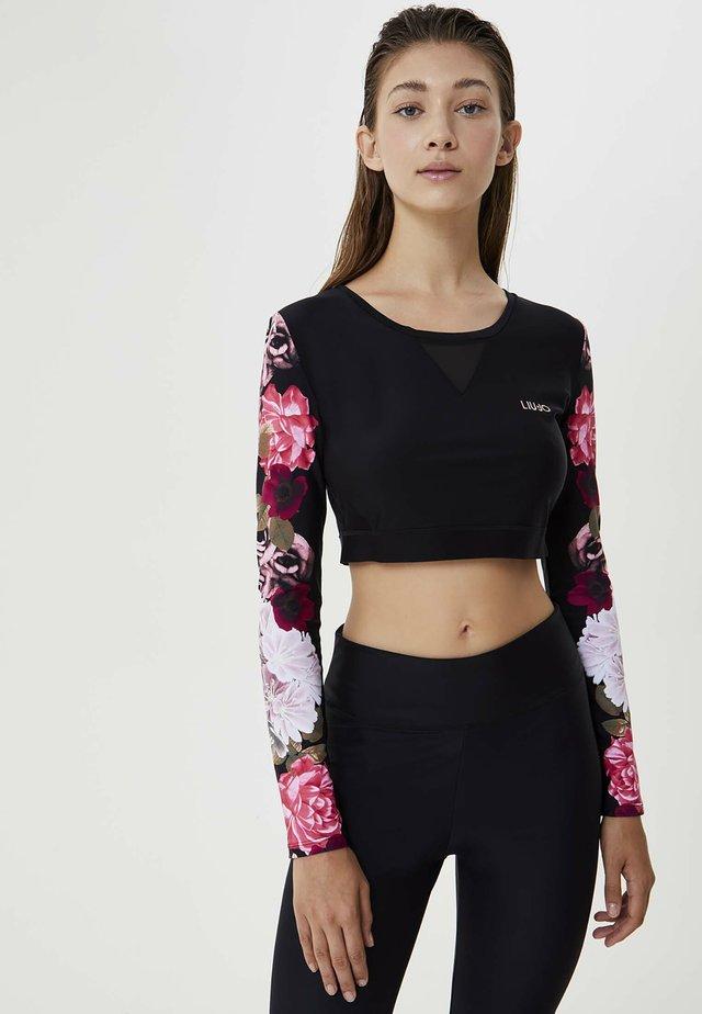 Maglietta a manica lunga - black / pink