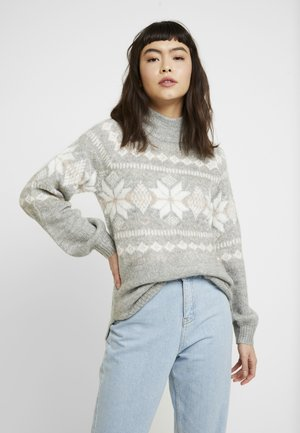 MOCKNECK PUFF SLEEVE FAIRISLE - Jumper - grey snowflake