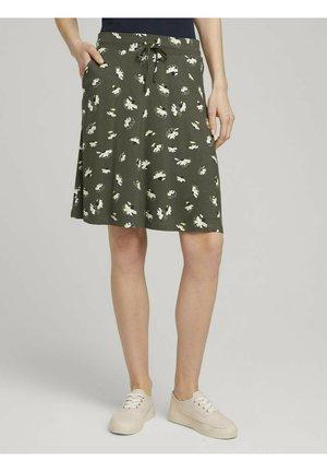 MIT TASCHEN - A-line skirt - khaki floral design