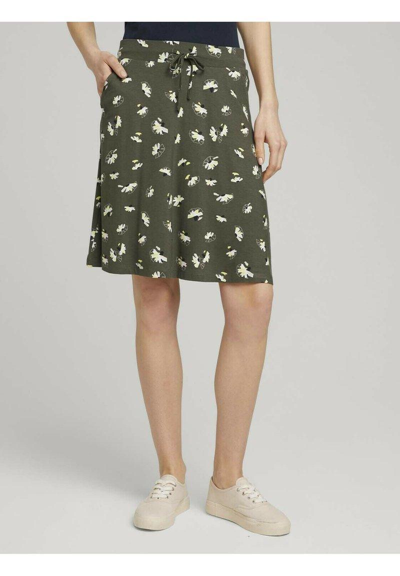 TOM TAILOR - MIT TASCHEN - Spódnica trapezowa - khaki floral design