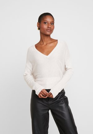 BASIC- SOFT OVERSIZED V-NECK - Maglione -  beige melange