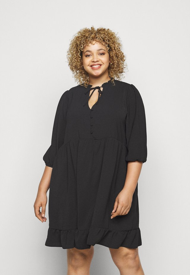 HERRINGBONE SMOCK DRESS - Day dress - black