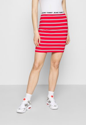 STRIPE BODYCON MIDI SKIRT - Pencil skirt - deep crimson/multi