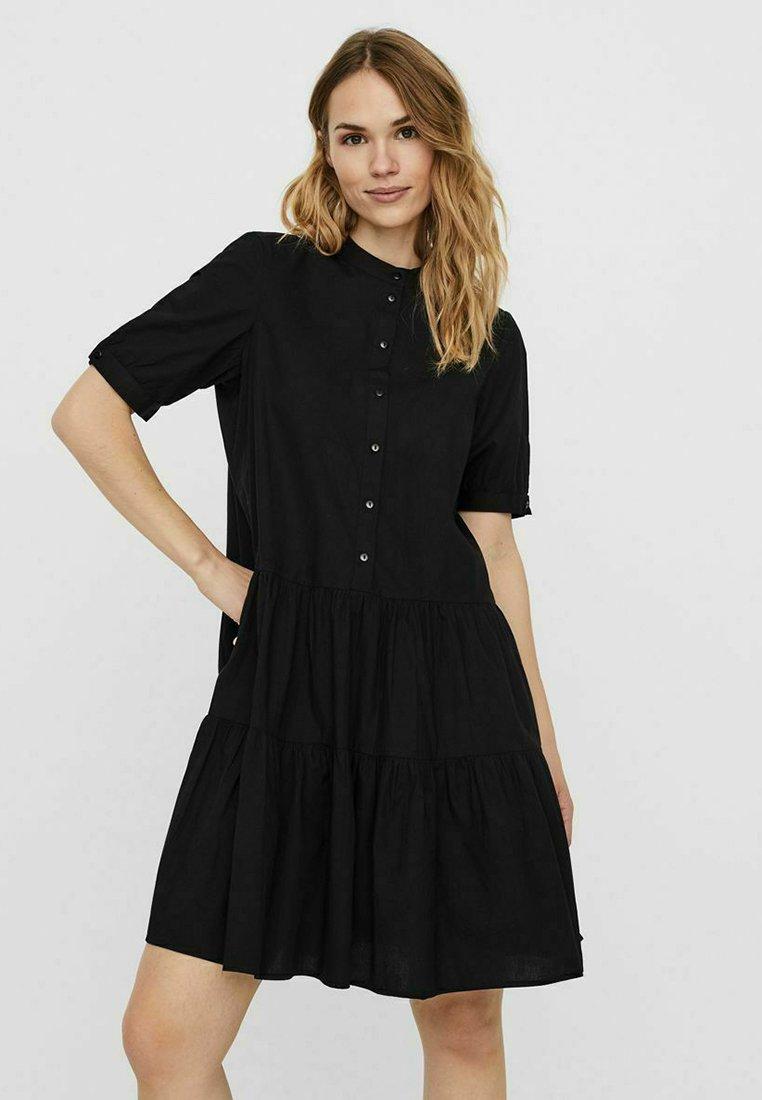 Vero Moda - STEHKRAGEN - Shirt dress - black
