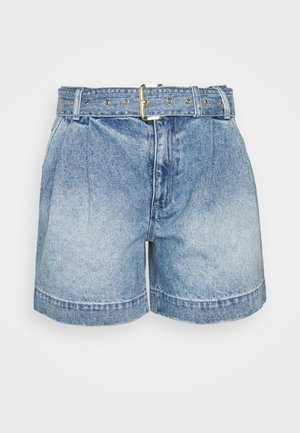 PLEATED BELTED - Farkkushortsit - blue denim