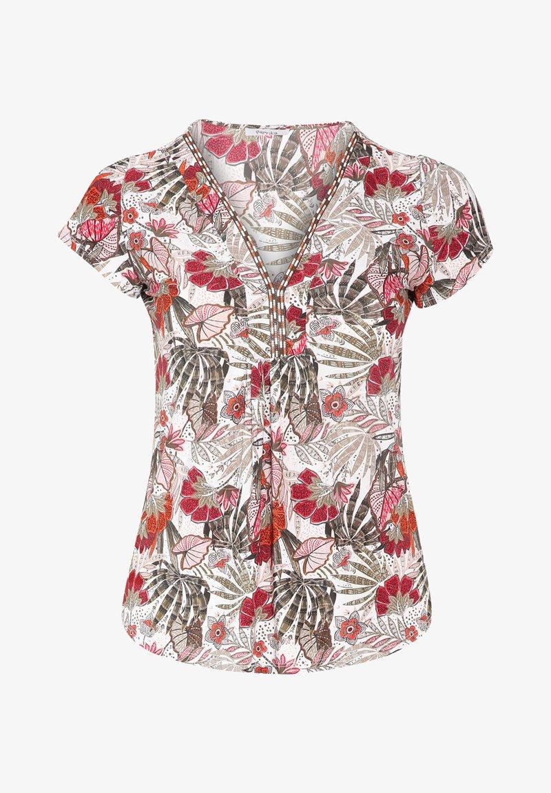 Paprika - MIT FARBIGEM ETHNO-PRINT - Print T-shirt - khaki