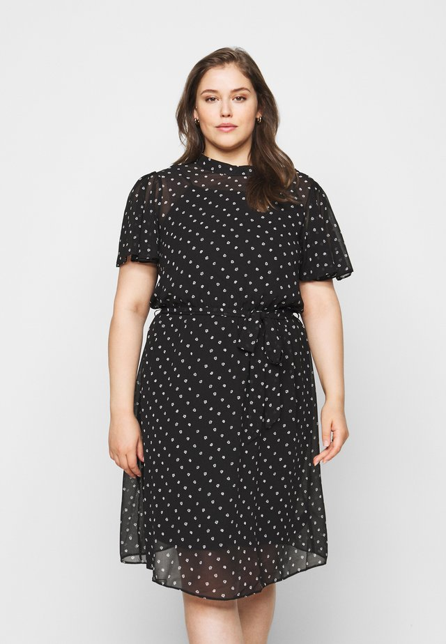FLORAL SHORT SLEEVE DRESS - Day dress - black