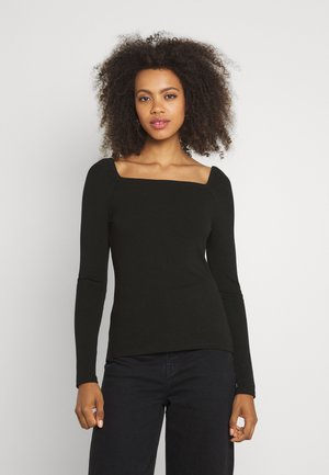 SALLY SQUARE NECK - Long sleeved top - black