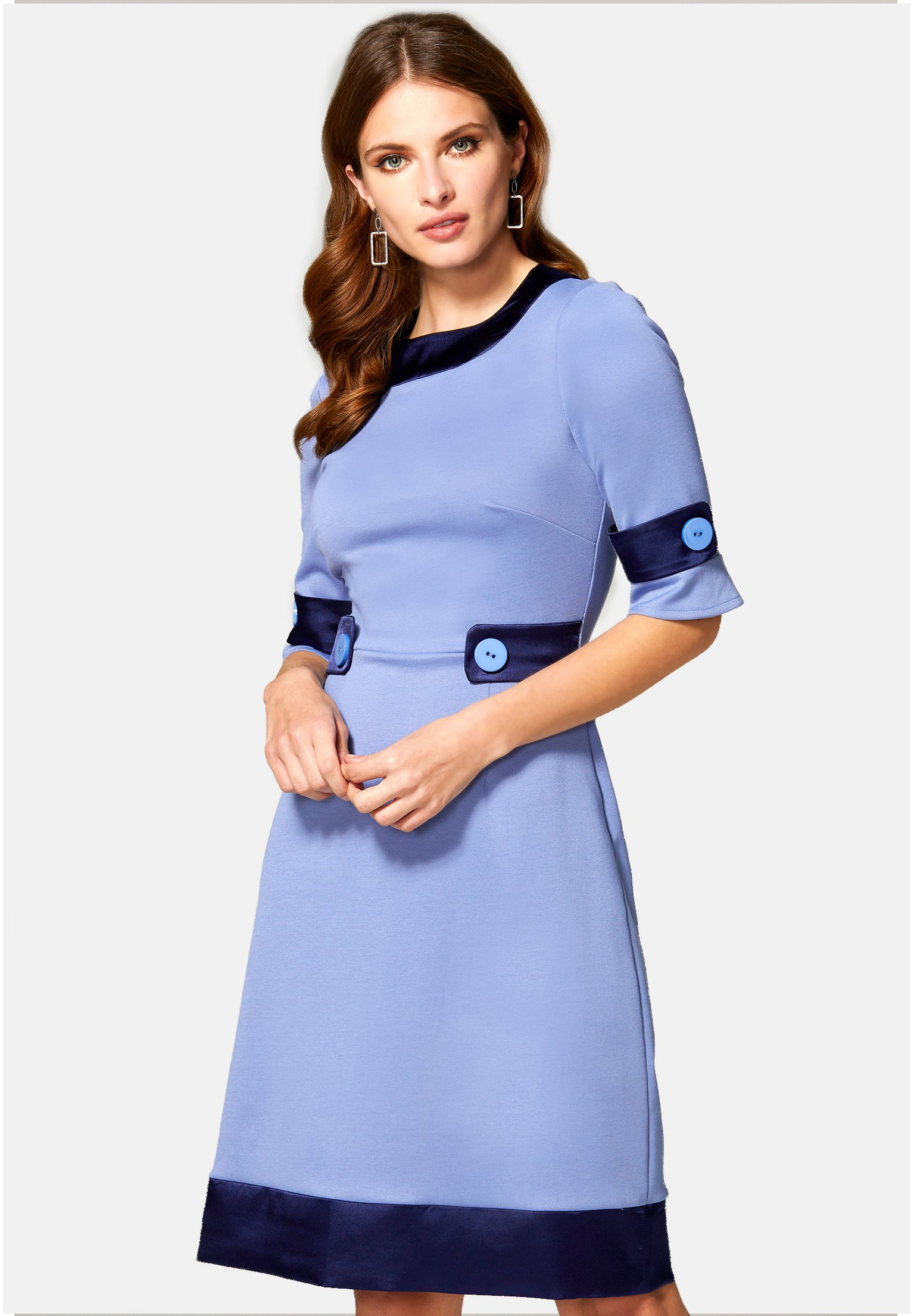 Online Cheapest Women's Clothing HotSquash 60S DRESS WITH CONTRAST HEM Day dress woodblue and navy silky 4IPvb1J5B