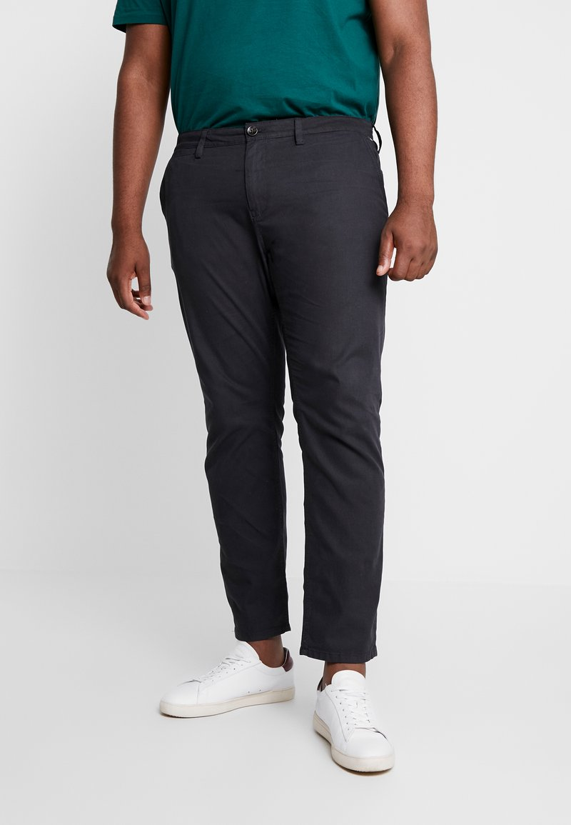 TOM TAILOR MEN PLUS - WASHED STRUCTURE  - Trousers - dark grey yarndye structure
