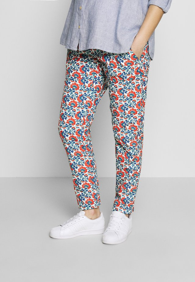 CARROT PANTS FLOWER PRINTS - Kalhoty - blue red